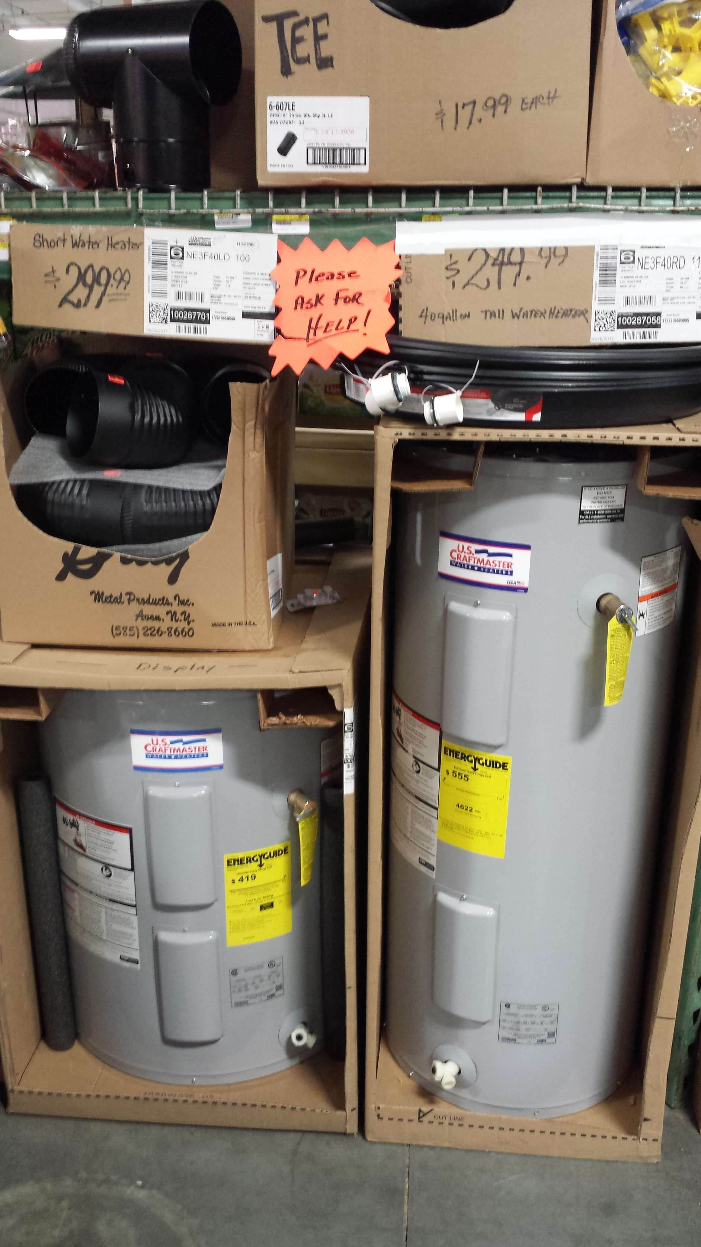 Image of Bargain Foods in Pelzer SC, Hardware Aisle, Hot Water Heaters