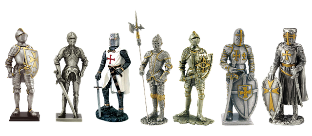 Antique Pewter Figurines Knights Armor Middle Ages