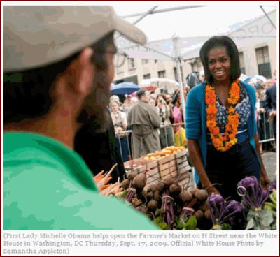 First Lady Michelle Obama at Washington DC farmers market